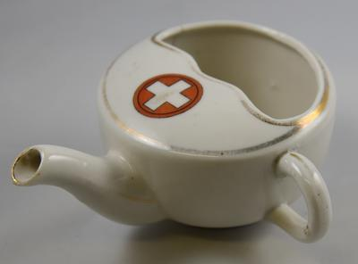 Large china feeding cup with Red Cross emblem