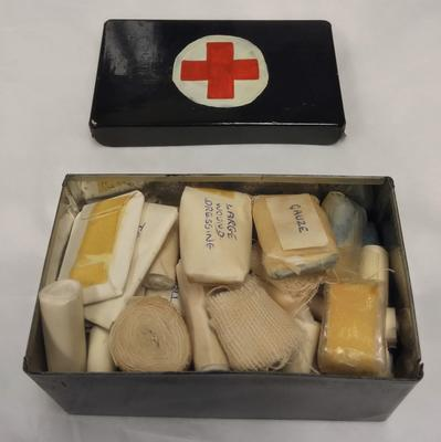 Miniature First Aid box with Hand Painted Red Cross Emblem
