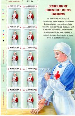 Sheets of Alderney stamps for the centenary of British Red Cross uniforms