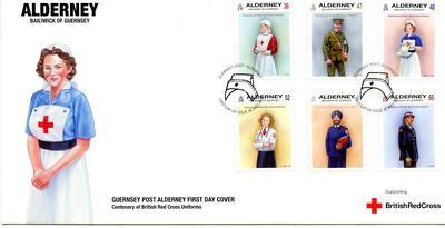 Guernsey First Day cover celebrating the centenary of British Red Cross uniforms, 2011