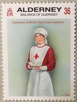 Guernsey stamp celebrating the centenary of British Red Cross uniforms, 2011