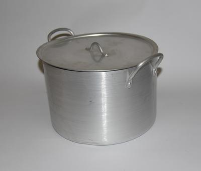 Large stainless steel cooking pot with lid