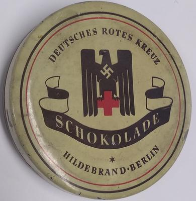 Chocolate tin from a German Red Cross Second World War food parcel