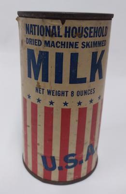 Tin of 'National Household dried machine skimmed milk