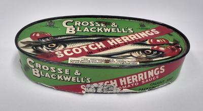 Empty tin of Crosse & Blackwell's Scotch Herrings in tomato sauce