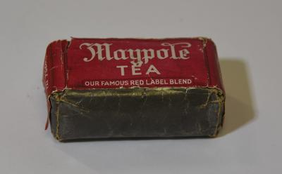 Packet of Maypole Tea: 'Our Famous Red Label Blend'