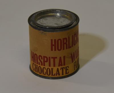 Empty tin of Horlicks Hospital Ward Tin Chocolate Flavoured