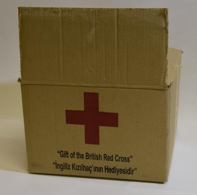 Relief parcel of the type distributed to mothers of babies by the British Red Cross in Turkey following the 1999 earthquake.