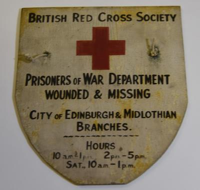 Wooden Sign: British Red Cross Society Prisoners Of War Department and Wounded & Missing services