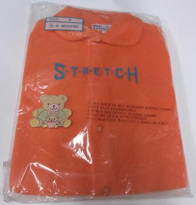 Orange baby grow; Relief Work/baby grow; 3130/4