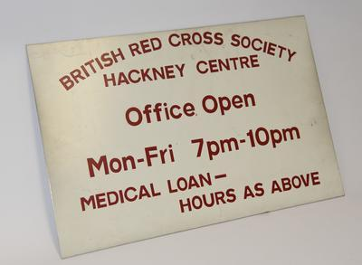 Metal sign from the British Red Cross Hackney Centre