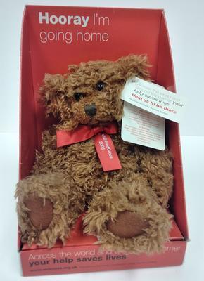 Small teddy bear in presentation box
