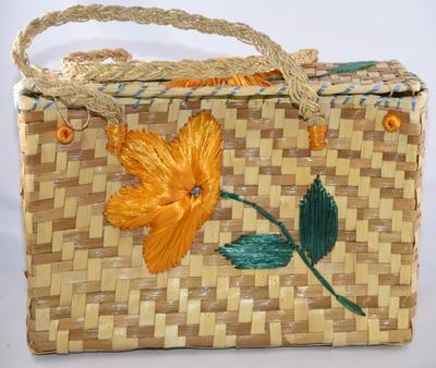 Decorative straw basket