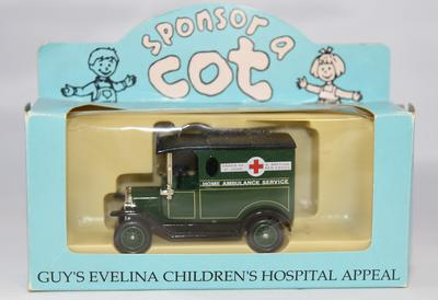 Home Ambulance Service model ambulance in presentation box for Guy's Evelina Children's Hospital Appeal 'Sponsor a Cot'.