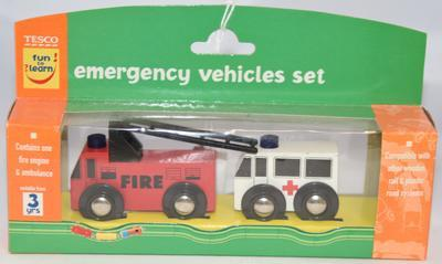 Wooden emergency vehicle set containing a fire engine and an ambulance
