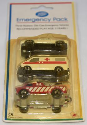 Set of three realistic die-cast emergency vehicles: Police car, ambulance and fire engine