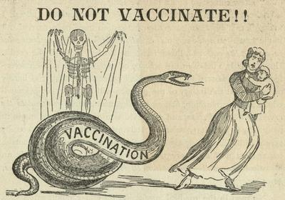 Cartoon from an anti-vaccination publication, titled 'Do not vaccinate!'