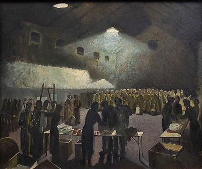 Framed oil painting depicting the British Red Cross issuing comforts to prisoners of war upon their arrival in Brussels