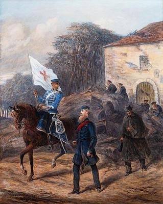Watercolour painting depicting Colonel Robert Loyd-Lindsay and Mr Whittle delivering financial aid during the Franco-Prussian War; Robert Landells (b.1833, d.1877); Art/painting; 0037A/2