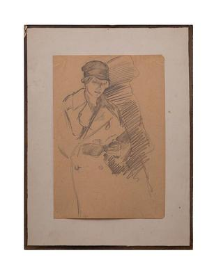Black and white sketch of a British Red Cross VAD ambulance driver, 1920-1921