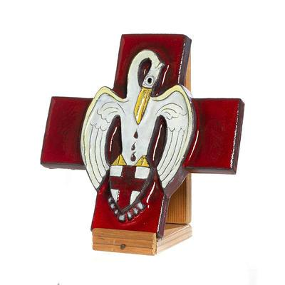 Ceramic Red Cross emblem with pelican motif