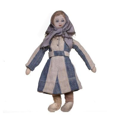 Cloth doll dressed as an inmate from Bergen-Belsen
