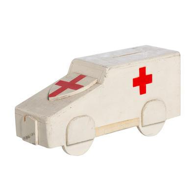Wooden British Red Cross collecting box in the shape of an ambulance; Fundraising/collecting box; 2658/9