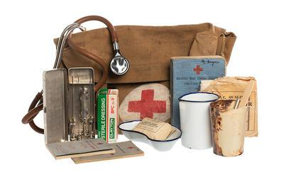First aid kit used by Red Cross VADs and medical staff at North Stoneham Basque refugee camp