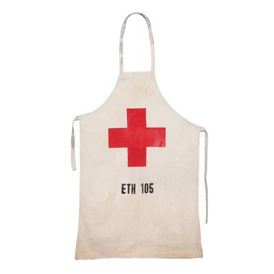 Red Cross apron made from a flour sack