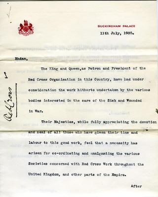 Letter to Lady Wantage from [Lord] Knollys on behalf of the King and Queen, 11 July 1905