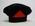 navy beret with red felt triangle to front