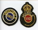 Two cloth badges: Mobile VAD and Immobile VAD