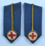 Gorget patches, blue with embroidered gilt line and emblem: Assistant County Director