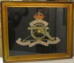 Framed embroidery: regimental badge of the Royal Regiment of Artillery