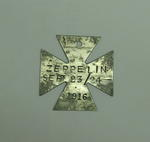Maltese type cross made from piece of Zeppelin