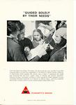 Set of League of Red Cross Societies posters: Humanity's Bridge - 'Guided solely by their needs'. Illustrated with black and white image of a delegate with people.