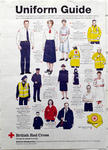 poster advertising British Red Cross uniform, with illustrations and descriptions of each item of clothing