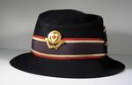 Navy hat with hat band and gilt hat badge