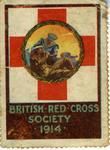 Large stamp showing with a roundel inside the emblem, showing a sailor with the emblem on a brassard feeding a wounded soldier: 'British Red Cross Society 1914'.