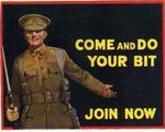 postage label encouraging army recruitment, with a smiling soldier: 'Come and Do Your Bit. Join Now'