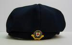 Navy beret, panelled with central button, made of terylene