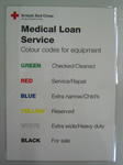 Small encapsulated poster: British Red Cross Caring for people in crisis. Medical Loan Service. Colour codes for equipment. Green. Checked/Cleaned. Red. Service/Repair. Blue. Extra narrow/Child's. Yellow. Reserved. White. Extra wide/Heavy duty. Black. For sale.