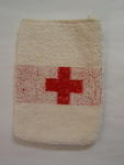 White flannel with red cross emblem produced in 1947 and used in the Dutch floods of 1953