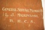 British Red Cross personal kit bag belonging to L J Mackintosh.