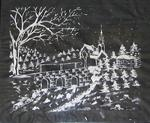 Drawing of a landscape made from toothpaste on black x-ray paper