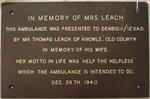 Commemorative metal plaque in memory of Mrs Leach