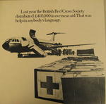 Cardboard poster promoting the work of the British Red Cross Society in overseas aid