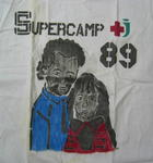 Small white t-shirt, with a girl and boy: Supercamp 89. Made by CYCO, 100% cotton, made in China.