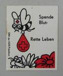 Sticker: Spende Blut-Rette Leben. DRK der DDR-Prasidium.