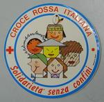 Sticker: croce rossa italiana, solidarieta senza confini